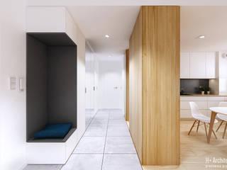 Konwaliowa | Turka Nowoczesny korytarz, przedpokój i schody od H+ Architektura Nowoczesny