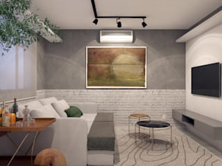 RAFE Arquitetura e Design Living room Concrete Grey