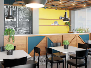 Local comercial de comida mexicana Espacios comerciales de estilo moderno de MG estudio de arquitectura Moderno