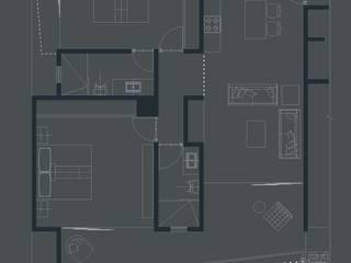 departamento en esquina de 2 recamaras:  de estilo  por axg arquitectos