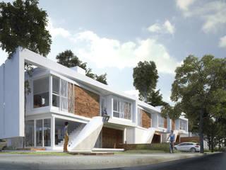 ESCULTURAS SOBRE EL RÍO: Proyecto DQ: Casas de estilo  por síncresis arquitectos
