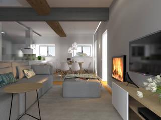 Projeto 3D - Apartamento Coimbra: Salas de estar modernas por Tralhão Design Center