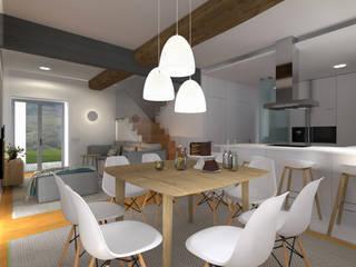 Projeto 3D - Apartamento Coimbra: Salas de jantar modernas por Tralhão Design Center