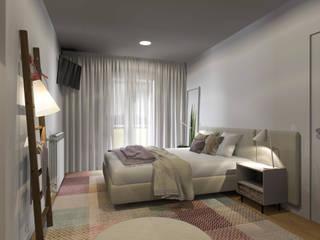 Projeto 3D - Apartamento Coimbra: Quartos modernos por Tralhão Design Center