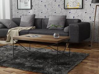 Stolik kawowy z dębowym blatem w stylu skandynawskim typu loft, ENIF od LIGHTWOOD Skandynawski