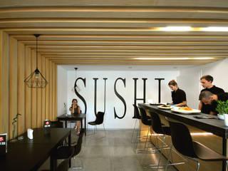 Bar  S H U S I w Głownie : styl , w kategorii Gastronomia zaprojektowany przez Piotr Stolarek Projektowanie Wnętrz