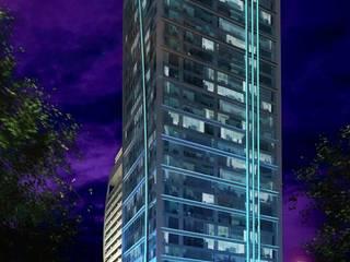 RENDERS EXTERIORES Y AÉREOS DE EDIFICIO EN SANTIAGO DE CHILE: Casas de estilo moderno por Javier Figueroa 3D