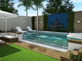 Área externa - Piscina: Piscinas de jardim  por Rodrigo Westerich - Design de Interiores,Minimalista