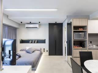 projeto apartamento flat contemporâneo Quartos minimalistas por ABHP ARQUITETURA Minimalista