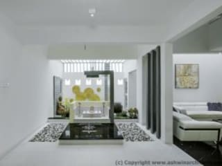 Striking House Front Elevation: 40×60, 4BHK:  Living room by Ashwin Architects In Bangalore,