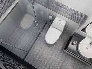 Gam màu trắng - xám phù hợp với đồ nội thất:  Phòng tắm by Công ty TNHH Thiết Kế Xây Dựng Song Phát
