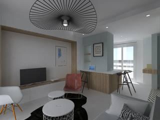 Appartement 40m² - Rue Mozart: Salon de style  par SAS Alexandre TRIPIER