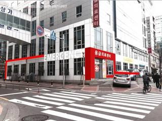 원광대 산본 병원 응급의료센터 파사드 디자인(Facade Design for E.R. Center of Wonkwang Univ Sanbon): 위아카이(wearekai)의  병원
