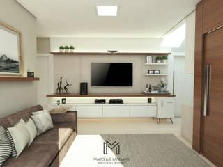 Projeto de Interiores Residencial: Salas de estar  por Marcelle Langaro Arquitetura e Interiores