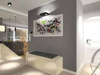 ROJEKT wnętrza mieszkania - KATOWICE Nowoczesny korytarz, przedpokój i schody od AM PROJEKT Adrian Muszyński Nowoczesny