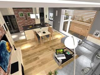 ROJEKT wnętrza mieszkania - KATOWICE Nowoczesny salon od AM PROJEKT Adrian Muszyński Nowoczesny