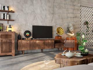 Cảm xúc Á Đông - Nhà phố Sài Gòn Phòng khách phong cách châu Á bởi LEAF Design Châu Á