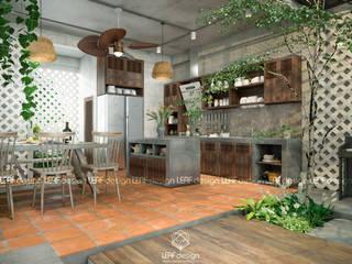 Cảm xúc Á Đông - Nhà phố Sài Gòn Nhà bếp phong cách châu Á bởi LEAF Design Châu Á