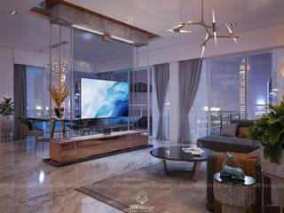 """GIẢI NHẤT + GIẢI TUẦN Cuộc thi thiết kế """"Ý tưởng cho phòng khách thượng lưu"""" bởi LEAF Design Hiện đại"""