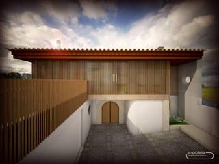 casa H_vista exterior II: Moradias  por Emprofeira - empresa de projectos da Feira, Lda.