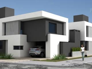 FAHADA DUPLEX UNO: Casas unifamiliares de estilo  por JAMStudio