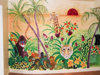 Jungle Murals for Playroom: tropical  by Joanna Perry Murals, Tropical