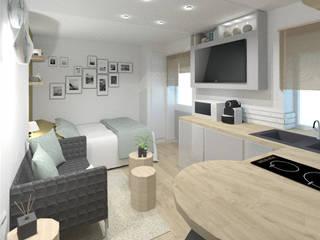 Rénovation complète d'un appartement destinée à la location de courte durée à Lyon.: Salon de style de style Scandinave par Tiffany FAYOLLE