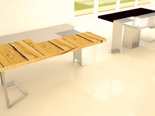tavolo componibile in acciaio legno e cuoio:  in stile  di Simone Fratta Architetto