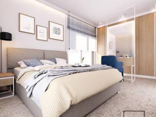 Eco Apartament: styl , w kategorii Sypialnia zaprojektowany przez 4 kąty a stół 5 Pracownia Projektowa Ewelina Białobrzewska