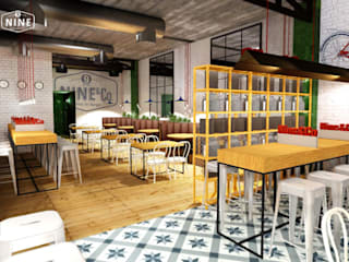 NINE bar Bares y clubs de estilo industrial de Muka Design Lab Industrial