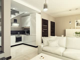 Mieszkanie 65 m2: styl , w kategorii Aneks kuchenny zaprojektowany przez AMI INTERIOR Projektowanie Wnętrz