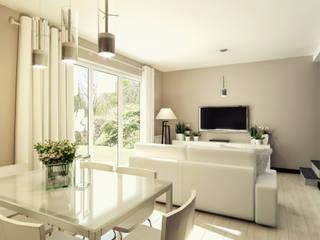 Mieszkanie 65 m2: styl , w kategorii Salon zaprojektowany przez AMI INTERIOR Projektowanie Wnętrz