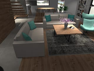 Dom z antresolą: styl , w kategorii Salon zaprojektowany przez AMI INTERIOR Projektowanie Wnętrz