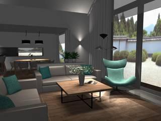 Dom z antresolą Nowoczesny salon od AMI INTERIOR Projektowanie Wnętrz Nowoczesny