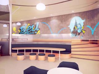 Interiors and Mural Artwork // Bleu Resto:   by Lukemala Creative Studio