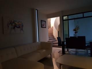 INTERIOR CON VISTA A LA ESCALERA: Salas de estilo  por Minimal architecture
