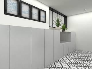 Yunhee Choe Couloir, entrée, escaliers modernes Blanc
