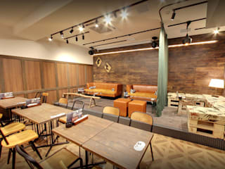 Tokyo - Cafe Interior Design Industrial style dining room by Yunhee Choe Industrial