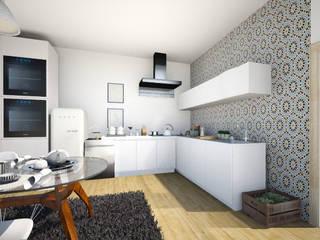 Reabilitação de uma habitação em Beja: Cozinhas modernas por Tezturas • Arquitectura e Decoração de Interiores
