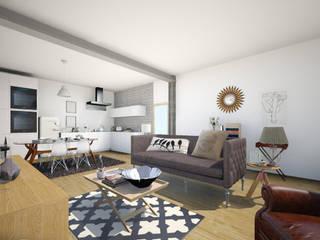 Reabilitação de uma habitação em Beja: Salas de estar modernas por Tezturas • Arquitectura e Decoração de Interiores