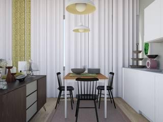 T0 em Oeiras: Salas de jantar modernas por Tezturas • Arquitectura e Decoração de Interiores