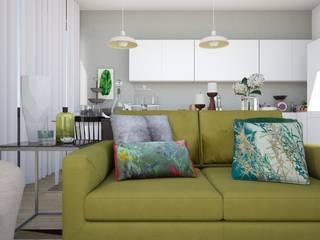 T0 em Oeiras: Salas de estar modernas por Tezturas • Arquitectura e Decoração de Interiores