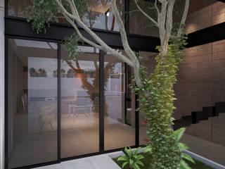 CASA ESTUDIO | Playa del Carmen Q. Roo: Pasillos y recibidores de estilo  por EMERGENTE | Arquitectura, Minimalista