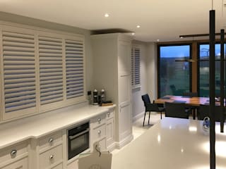 One of our Largest Residential Projects Ever! Plantation Shutters Ltd Ruang Makan Modern Kayu White