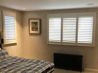 Full Height Shutter in The Bedroom:  Bedroom by Plantation Shutters Ltd