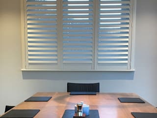 Full Height Shutter in The Dining Room:  Dining room by Plantation Shutters Ltd