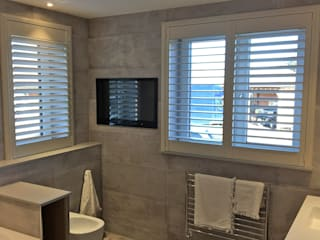 Full Height Shutter in The Bathroom:  Bathroom by Plantation Shutters Ltd
