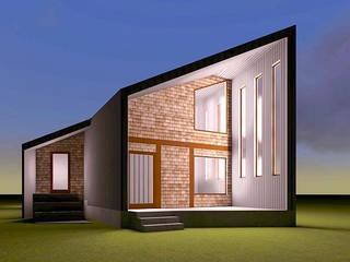Fachada nocturna con iluminación: Casas unifamiliares de estilo  por casa rural