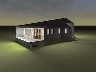 Fachada con vista desde el dormitorio: Casas unifamiliares de estilo  por casa rural