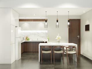 LUXURIOUS MASCULINE APARTMENT @ SEASON CITY, WEST JAKARTA:  Dapur by PT. Dekorasi Hunian Indonesia (DHI)